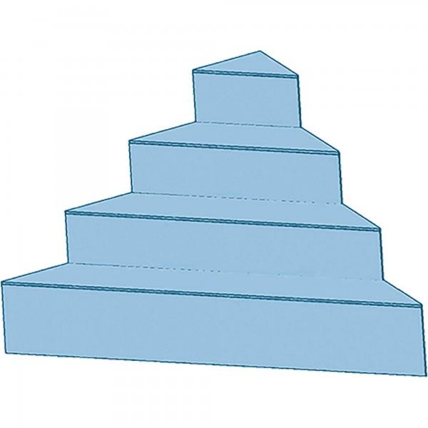 Upper Class Ecktreppe 45° 4 Stufen 170 x 170 x 130 cm