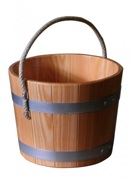 Aufgusseimer 5 l aus Lärchenholz mit Hanftragseil