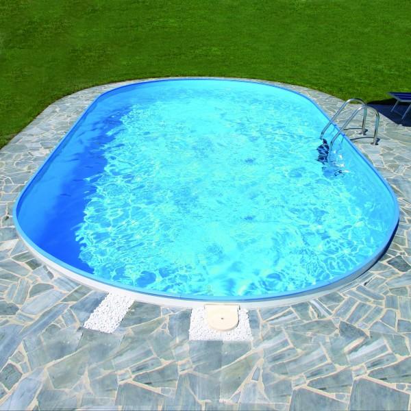 Exklusiv Stahlwandbecken Ovalform Tiefe 120 cm Folie 0,8 mm