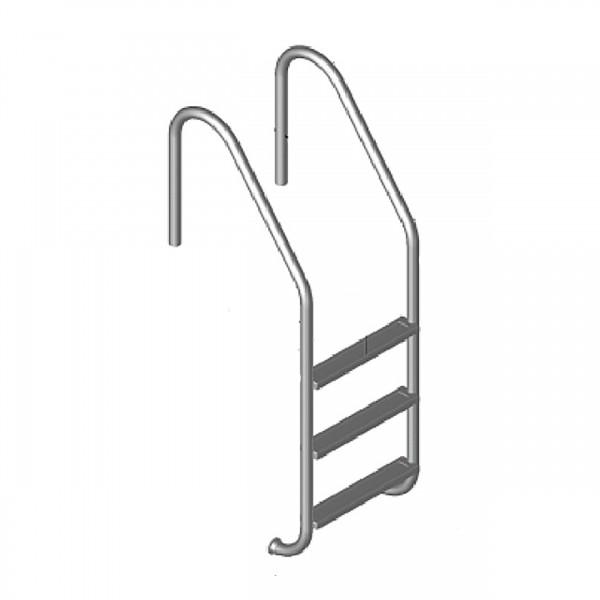 Edelstahl Tiefbeckenleiter weite Ausführung V2A 3-stufig