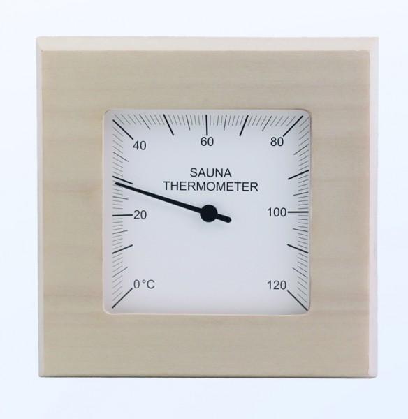 Sauna-Thermometer aus Espenholz 14 x 14 cm
