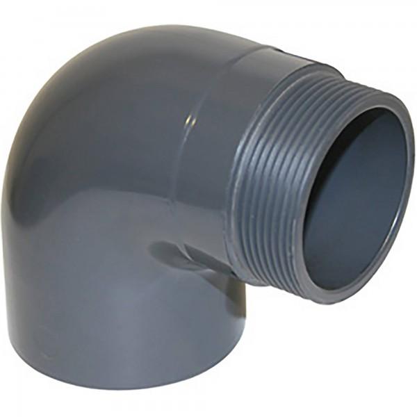 """PVC-Gewindewinkel 90° d 63 x 2"""" Aussengewinde"""