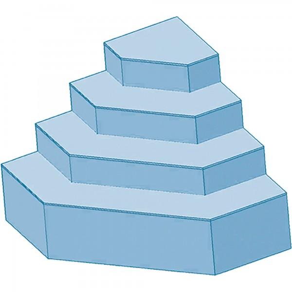 Upper Class Trapeztreppe 4 Stufen 150 x 150 x 130 cm